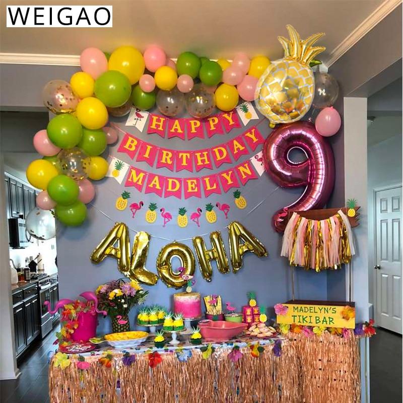 """WEIGAO тропический Фламинго вечерние милое летнее Луо надпись """"Алоха Гавайи"""" тема для дня рождения Фольга шарики декор в виде ананаса воздушный шар в виде фламинго"""
