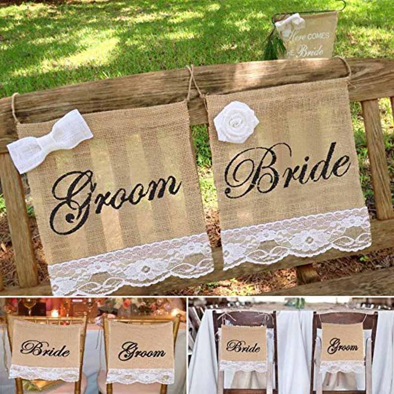 Mr & Mrs Bride Groom Burlap Chair Sign sashes Banner Vintage Rustic country garden Wedding engagement bridal shower Decoration