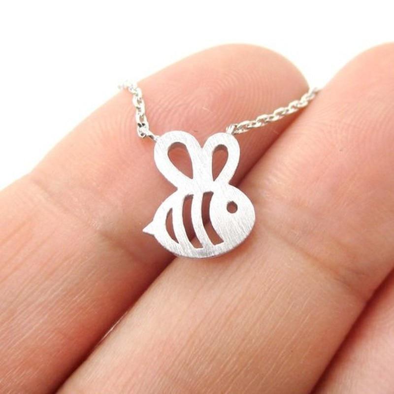 Novo animal bonito bumble abelha colar feminino ouro prata bebê jóias bonito inseto charme colar para presente da menina