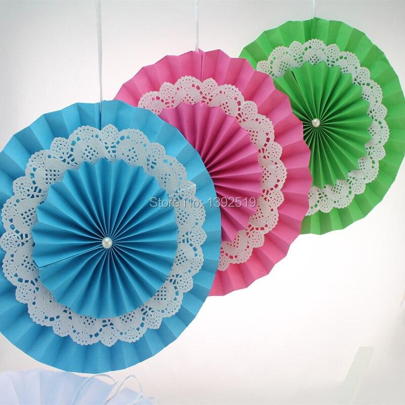 Envío Gratis 40 piezas 8 20 cm verde azul Rosa 12 colores papel Rosettes Fans Pinwheel fiesta decoración cumpleaños bebé decoración de la ducha