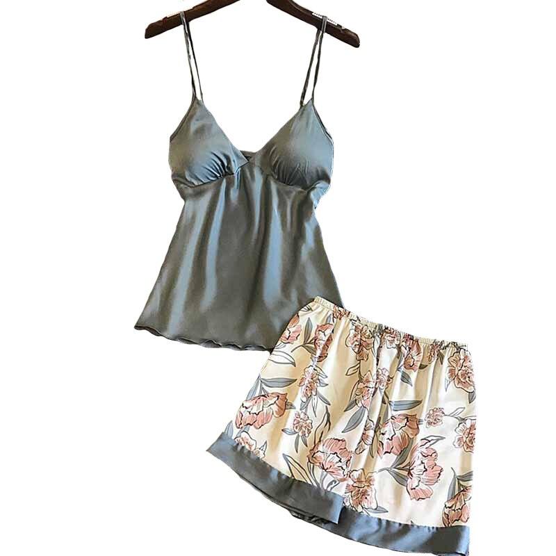 Sexy Pyjama ensemble Floral imprimé été dames soie Satin Top + Shorts femmes confort popeline vêtements de nuit avec poitrine Pad ménage porter