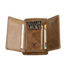 Mingclan homme femmes porte-clés en cuir véritable femme de ménage porte-sac de voiture pochette anneau organisateur étui porte-monnaie porte-carte porte-clés