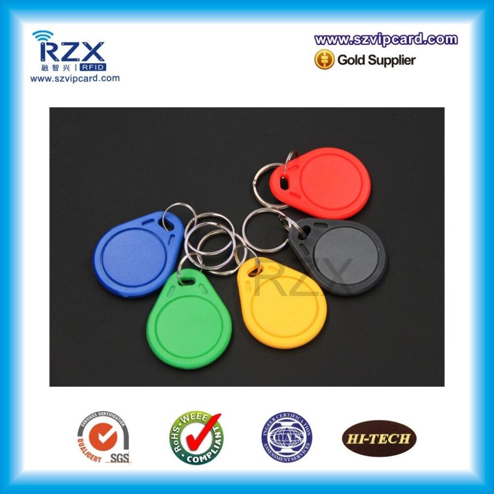 Бесплатная доставка (100 шт.) 125 кГц TK4100 новый синий/красный/зеленый/черный rfid Метка смарт-брелок для дверного замка