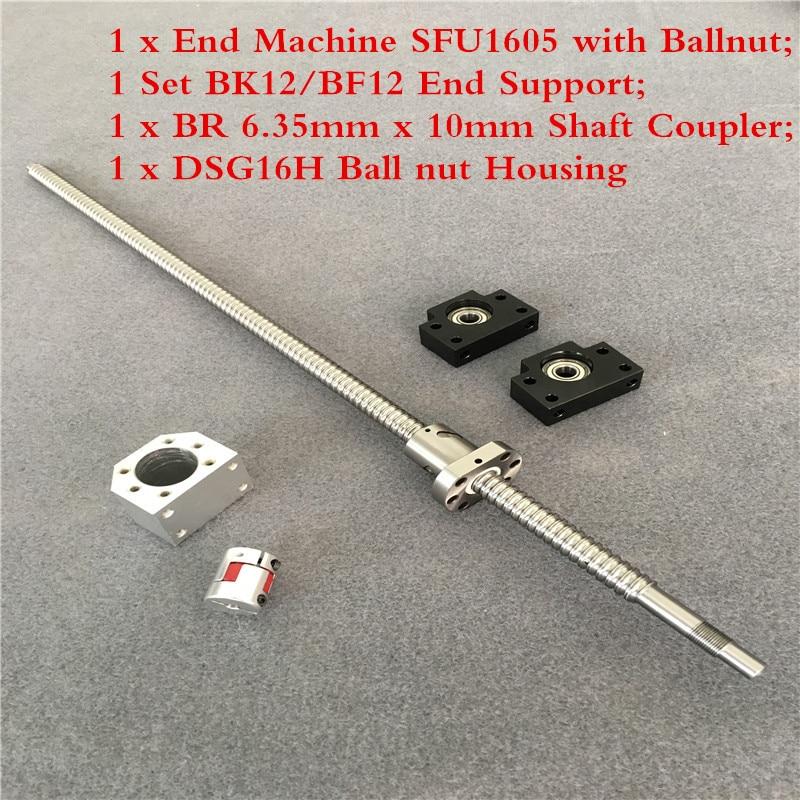 1605 ballnut الكمبيوتر + BK/BF12 نهاية دعم + الكرة المسمار مجموعة SFU 1605 1500 مللي متر مع نهاية تشكيله + الجوز الإسكان + اقتران ل CNC أجزاء