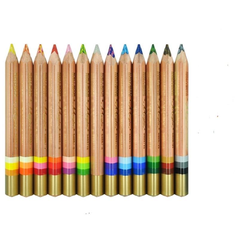KOH-I-NOOR 3  in 1 magic colored pencils 12+1 rainbow pencil magic color lead with paper box 13pcs