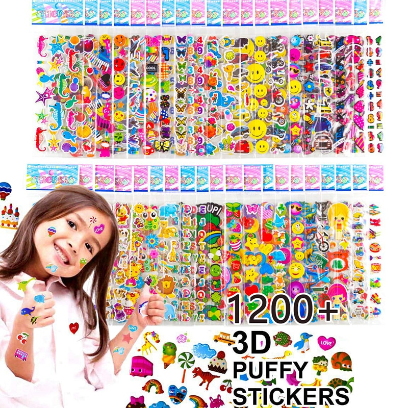 Kids Stickers 40 20 Different Sheets 3D Puffy Bulk Stickers for Girl Boy Birthday Gift Scrapbooking