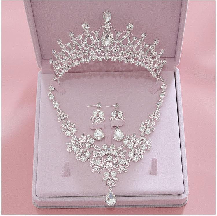 Высокое качество модные хрустальные свадебные ювелирные наборы для женщин Тиара короны серьги ожерелье Свадебные ювелирные изделия аксессуары