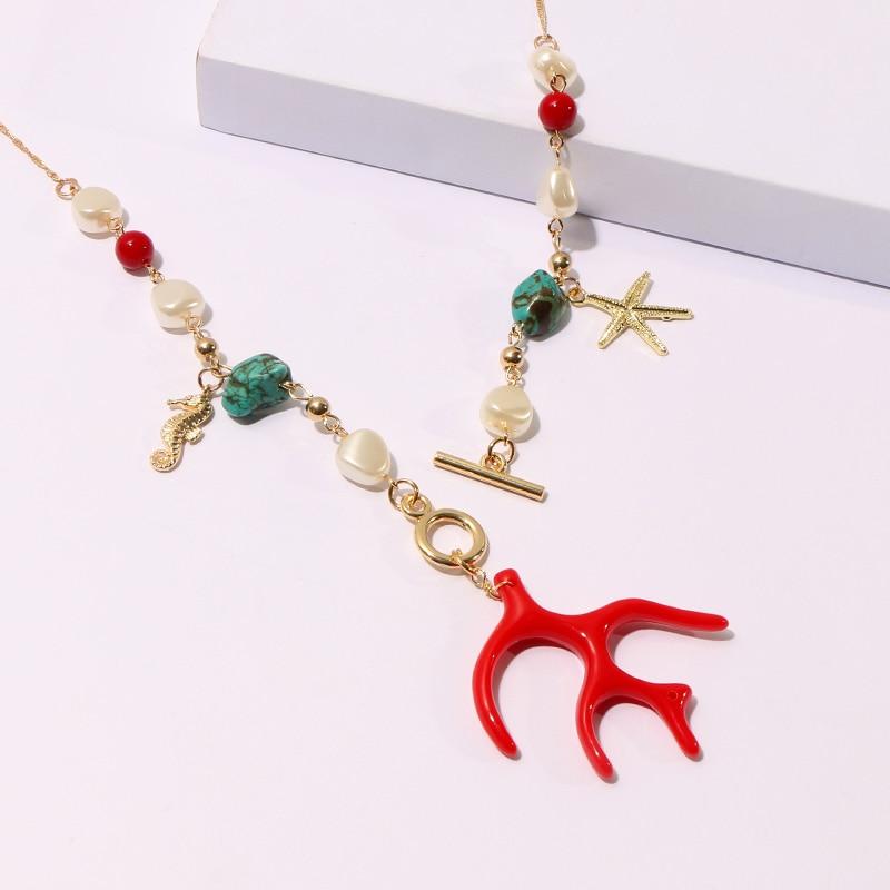 Коми ожерелье ручной работы коралловые камни жемчуг Кристалл Бирюзовый Шарм кулон серьги ожерелье набор ожереле ожерелье B40213