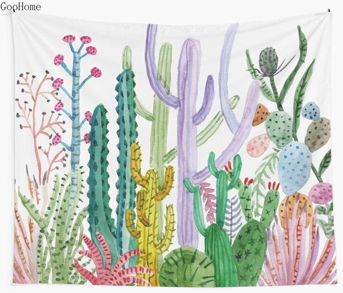 Acuarela cactus tapiz de pared cubierta Toalla de playa manta Picnic Yoga Mat decoración del hogar