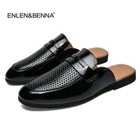 men sandals 2019 new summer half slippers men shoes pu leather beach sandals causal lazy slip on men slides flip flops moccasins