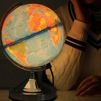 Blue Ocean World Earth Geography Map EU Plug Globe Rotating Illuminated for Home School Office With Night Light Desktop Decor