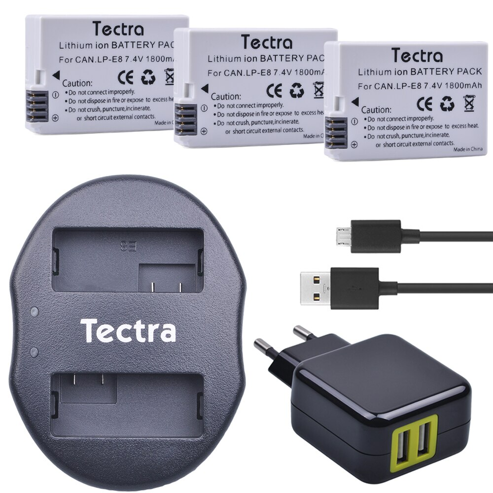 Tectra-Batería de ion de litio LPE8 LP E8, cargador Dual USB y...