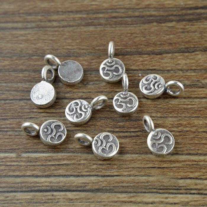 Hecho a mano 100% 925 de plata del encanto de la joyería de plata tailandesa budista símbolo OM encanto Tailandia puro joyas de plata con encanto Accesorios