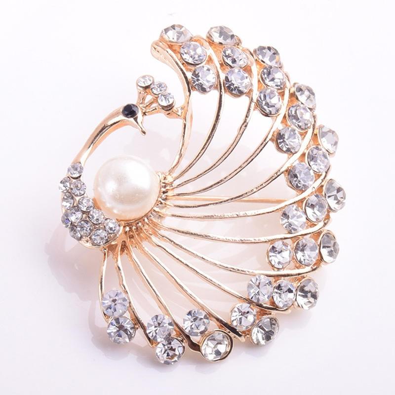 Broche LNRRABC de cristal nupcial grande diamantes Vintage con incrustaciones de pavo real broche joyería de moda broches de decoración