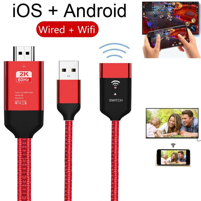 2K 60Hz HDMI Wifi USB inalámbrico espejo fundido Cable adaptador para iPhone iPad iOS Micro USB tipo C teléfono Android TV HDTV Projector