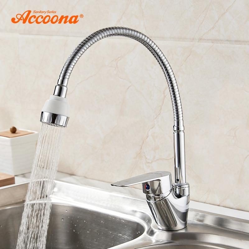Accoona جديد صنبور المطبخ الكروم مطلي خلاط الباردة والساخنة المطبخ الحنفية ثقب واحد المياه الحنفية سبائك الزنك torneira cozinha A4865
