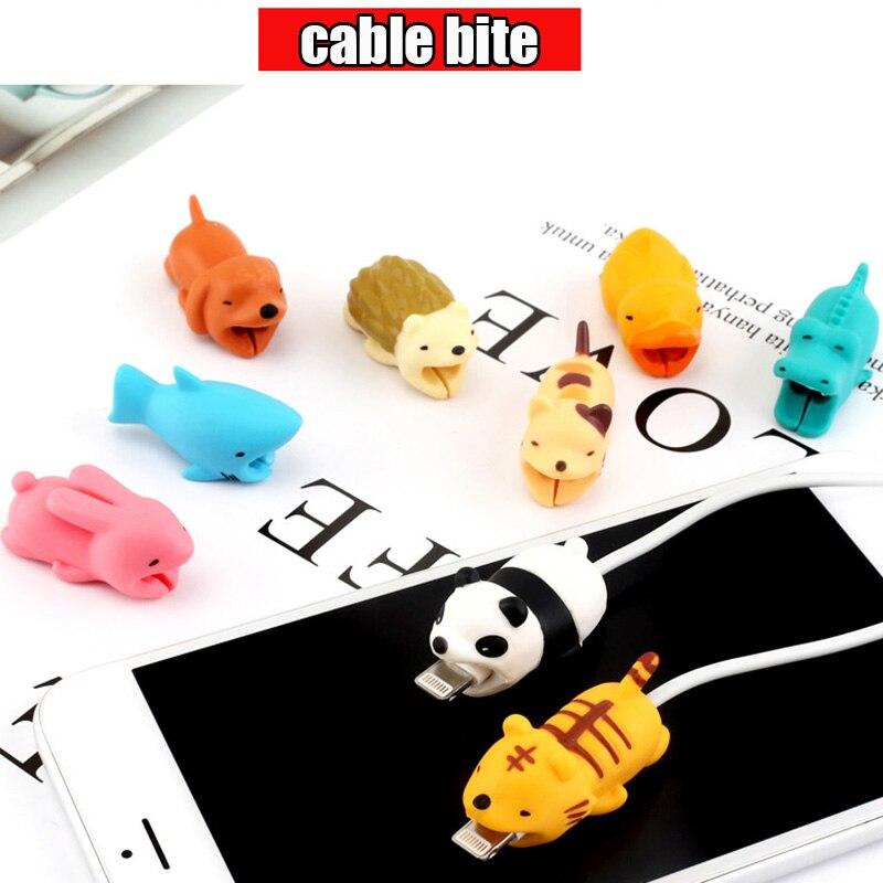 Защитный кабель в форме милых животных, Мягкий силикон, защита от поломки, кабель для передачи данных, аксессуары для сотовых компьютеров, мобильный телефон-4