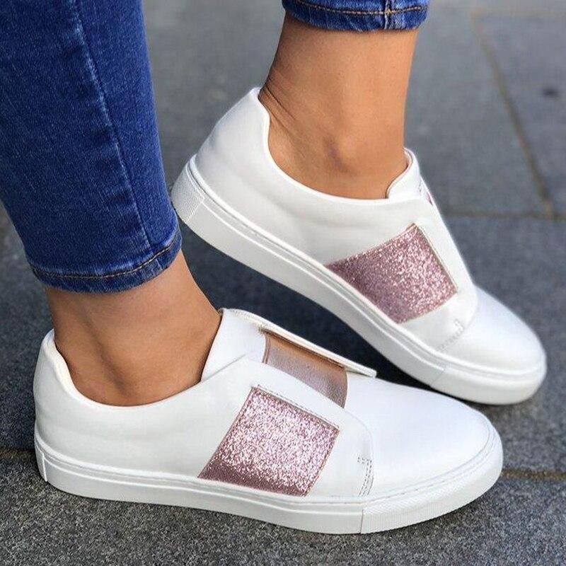 PU Flache Schuhe Frühling Pailletten Loafer Runde Kappe Komfortable Weiche Ferse Schuhe Feminino Zapatos De Mujer 2019 Dropship