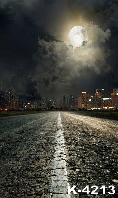 Nubes negras luna brillante ciudad Fondo foto tela impresa 5x7ft personalizado fondos fotográficos vinilo fond Photo studio