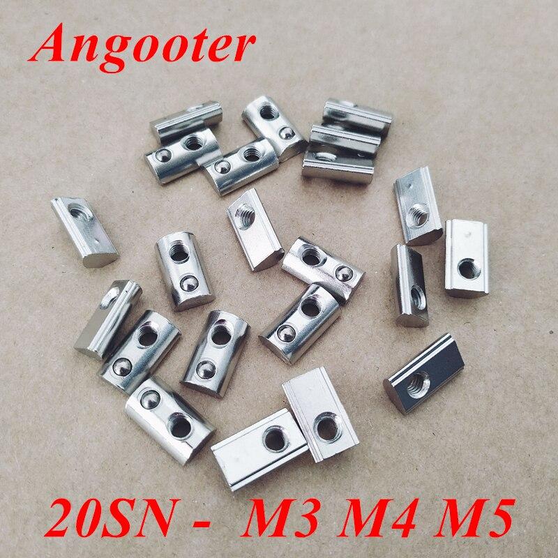 20 serie Roll-in T Frühling Muttern T Mutter M3 M4 M5 M6 Halbe Runde Elastische Schlitz Muttern Für 2020 aluminium Profile Nut 6