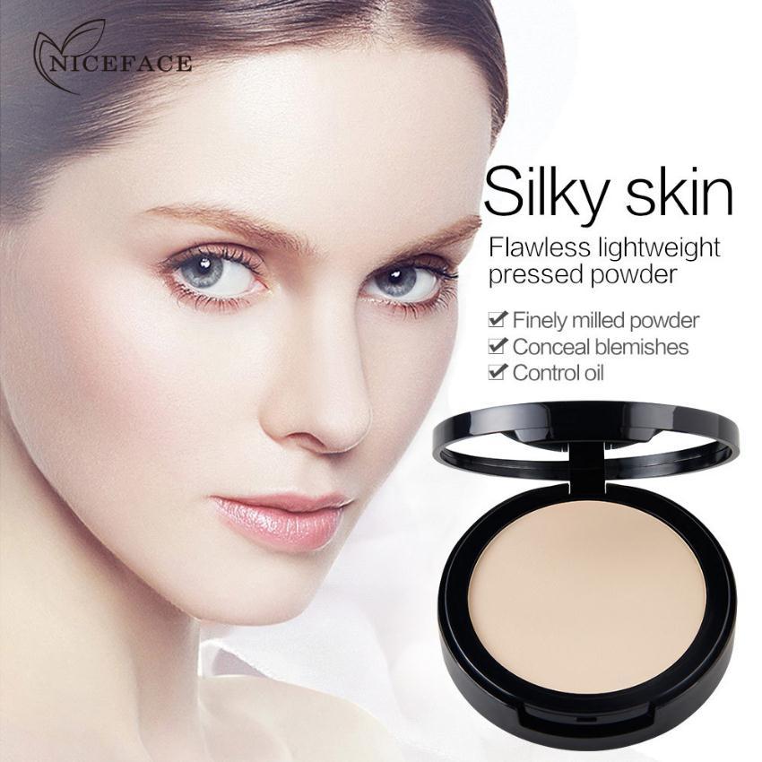 NICEFACE de control de aceite corrector humectante iluminar mojado y seco 4-polvo de color pastel con un espejo-Base de maquillaje facial