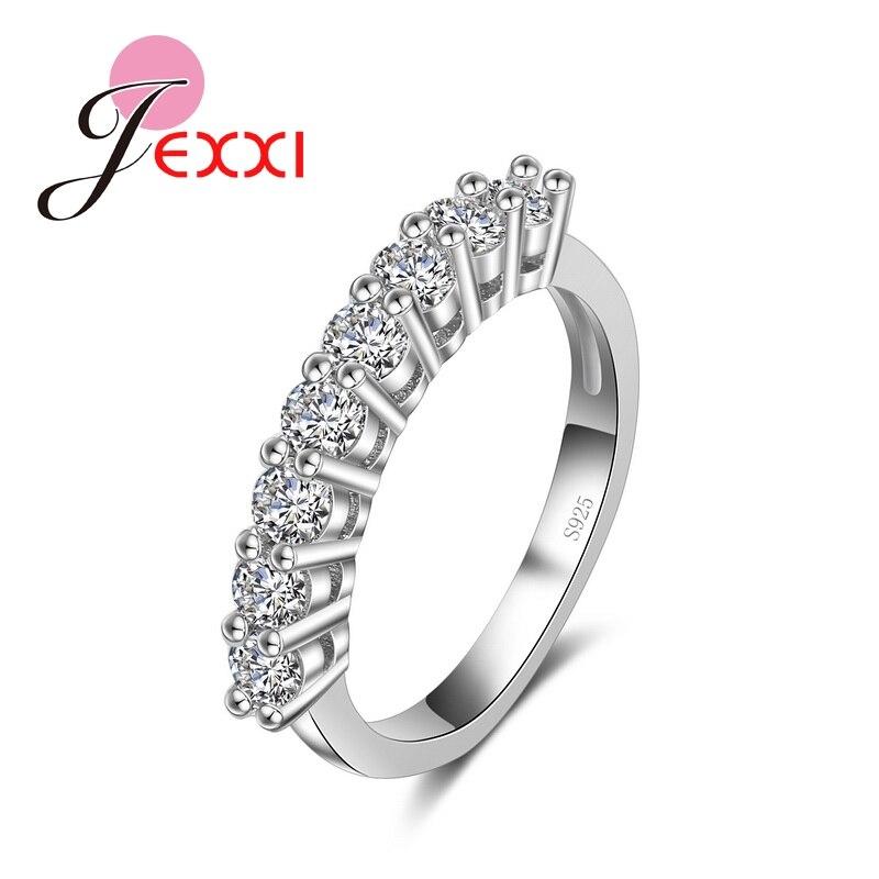Joyería de boda para parejas, anillos plateados de moda lujosos para mujeres 925, anillos de zirconia cúbica AAA para novias, accesorios