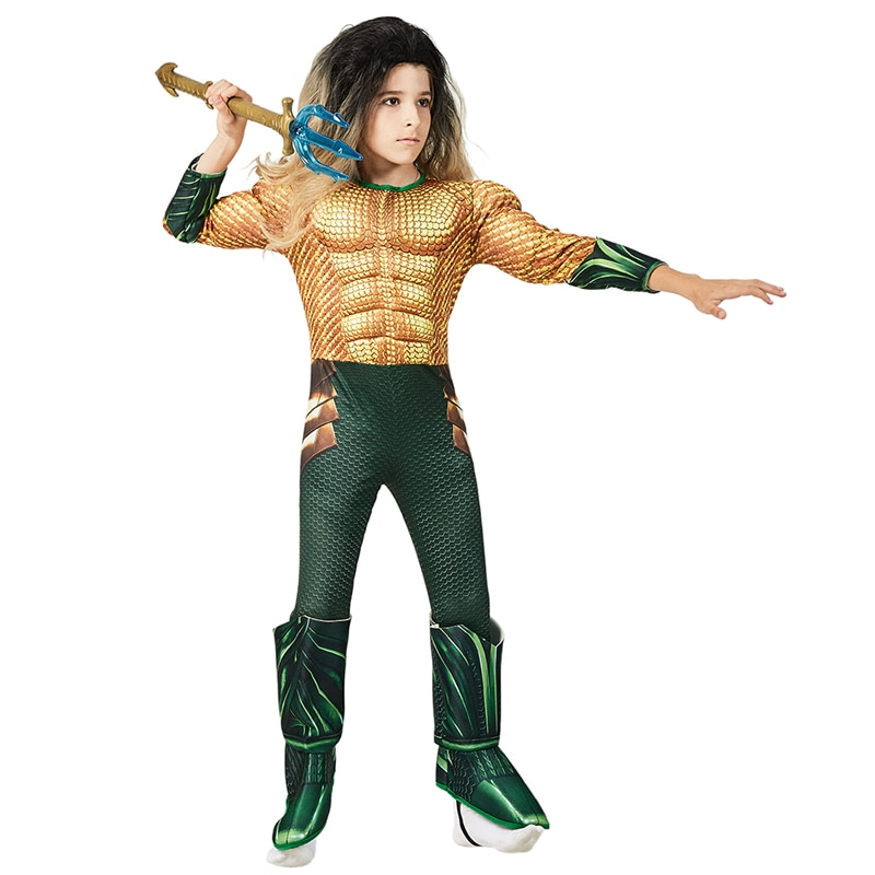 Kids Comic Superhero Aquaman Muscle Dress Up Halloween Fancy Dress Cosplay Costume For Child aquaman the legend of aquaman