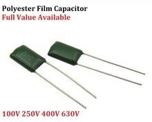 50PC condensateur à film Polyester 2A563J 2A683J 2A823J 2A104J 100V 630V 2J222J 2J152J 0.0/0.00/1.5/2.2/56/68/82/100/NF/UF