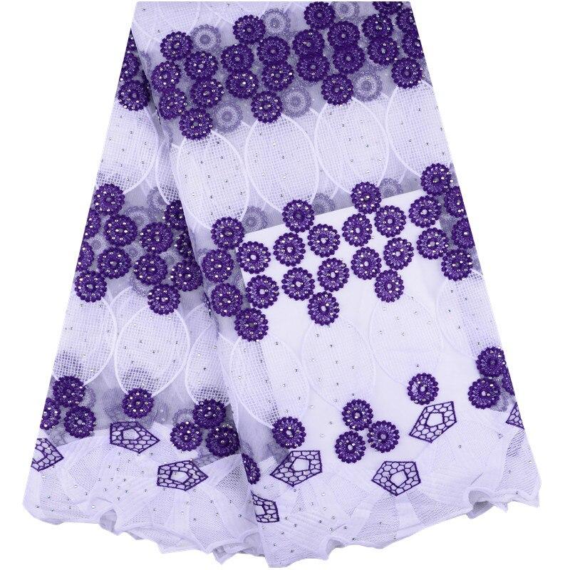 Material de encaje de leche Africana blanco + púrpura de alta calidad suave de último diseño con cuentas e impresión para vestido de fiesta de boda S1395