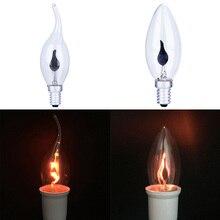 Светодиодная лампочка эдисона E14 E27 3 Вт огнеупорное освещение винтажный мерцающий эффект Вольфрамовая новая свеча наконечник лампа оранжевый красный