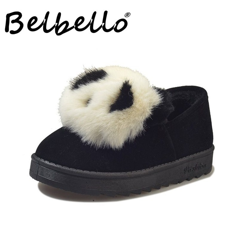Belbello 2019 inverno sapatos novos estilo China Panda botas de neve encantador confortável vilosidades sapatos