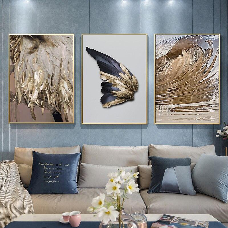 מודרני נורדי תקציר אמנות זהב נוצת פוסטר הדפסת בד ציור תמונה מעבר בית קיר אמנות קישוט יכול להיות מותאם אישית