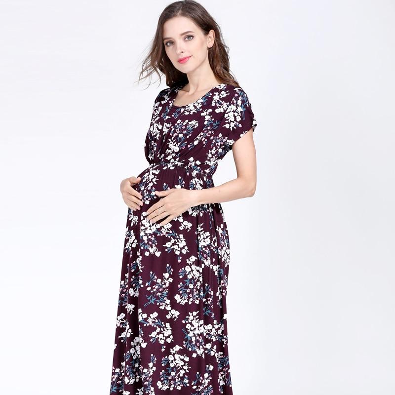 Emotion Moms Floral Maternity Dress For Pregnant Women Gravidez Soft Pregnancy Breastfeeding Dress Maternity Clothing enlarge