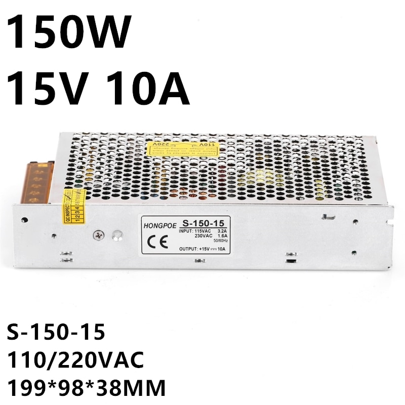1 piezas 15 V 10A 150 W de potencia de conmutación de alimentación 15 V conductor para cámara CCTV LED tira de AC-DC 100-240VAC 15 V