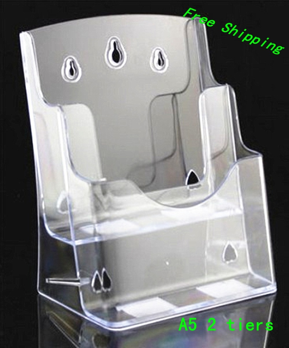 Clear A5 2 Tiers Plastic Acrylic Brochure Literature Pamphlet Display Holder Racks Stand To Insert Leaflet 40pcs