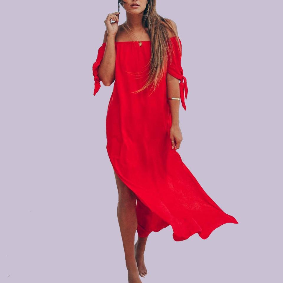 Mostarda amarelo vestido irregular sukienka sexy fora do ombro ruched coxa fenda vestido arco robe femme ete 2020 vestido longo praia mulher
