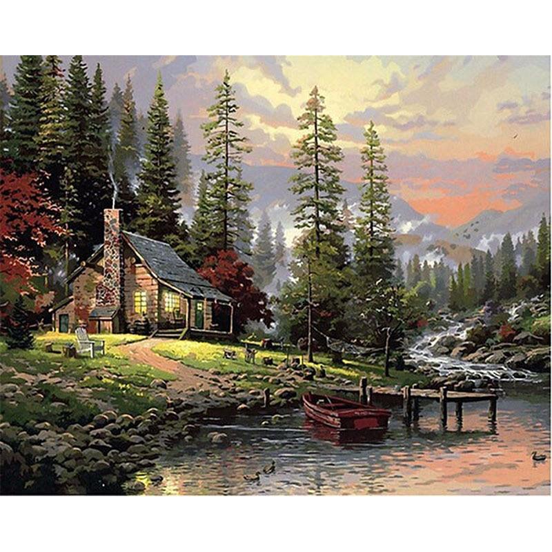 Картина по номерам DIY дропшиппинг 50x65 60x75 см Плотный лес дым дом пейзаж холст свадебное украшение искусство картина подарок
