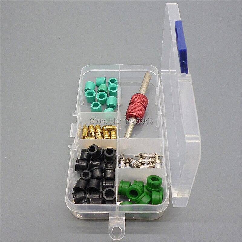 Anillo de sello de junta para aire acondicionado A/C, herramienta de extracción de núcleo de válvula Schrader, adaptador de manguera A/C, Kit de núcleo de válvula de Arandela de goma de junta