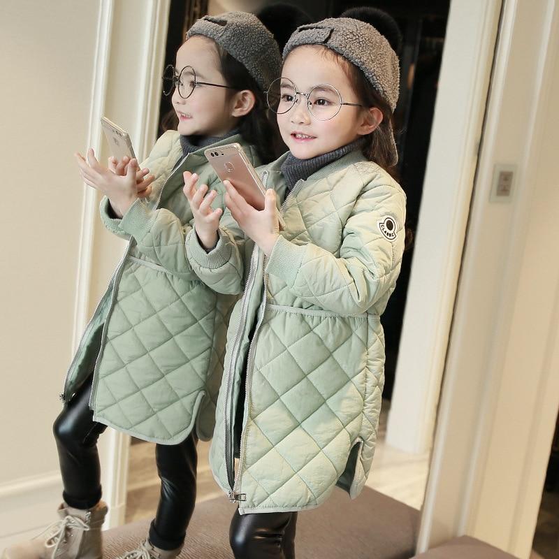 Brand 2019 Baby Girls Winter Coat Thin Kids Coat Children Fashion Parkas Toddler Long Style Jackets, 3-14 Y,#2395