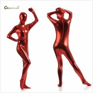 2017 Shiny Lycra Spandex Shiny Wine Red women's Unitard Catsuits Metallic Footed Zipper Zentai Bodysuit