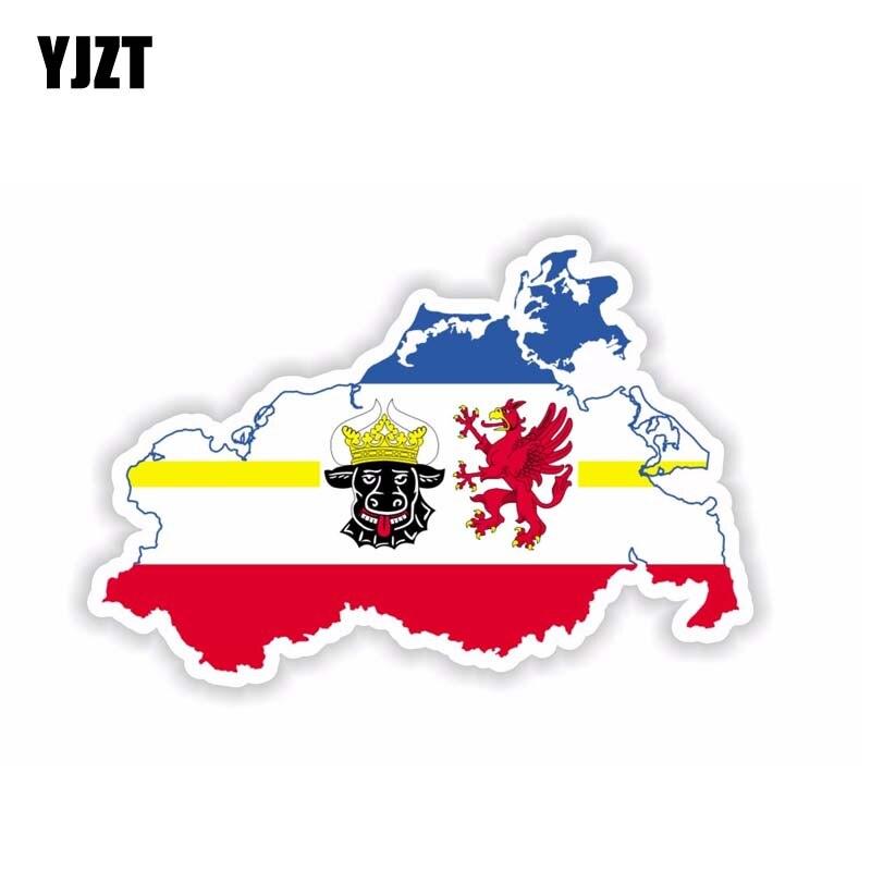 YJZT 14.6CM*9.6CM  Car Accessories Vorpommern Map Flag Window Car Sticker PVC Decal 6-1716