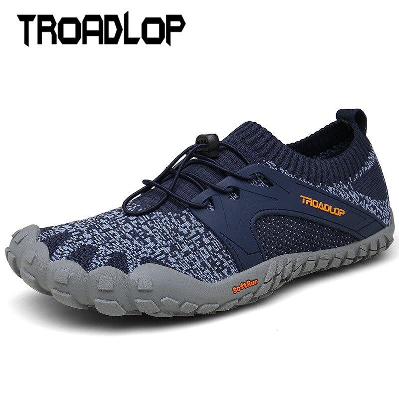 Troadlop Sola De Borracha Dedo Sapatos Lace Up Low Cut Sapatos de Exercício Ao Ar Livre Função Anti-skid Sapatos para Homens