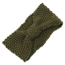 Crochet Flower Bow Knitted Head wrap Headband Hair Band (Army Green)