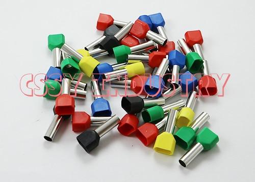 100 unids/lote TE6014 2x6mm2 kit Bootlace cooper Ferrules set cable de cobre conector de engarzado cable aislado doble Pin Terminal final