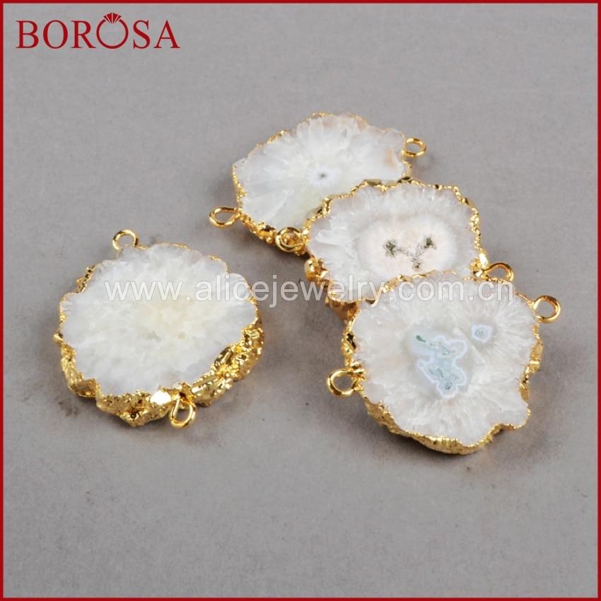 BOROSA Gold Farbe Sonne Blume Natürliche Quartz Stecker Doppel Bail Weiß Quarz Stein Stecker Anhänger Druzy Schmuck G0225