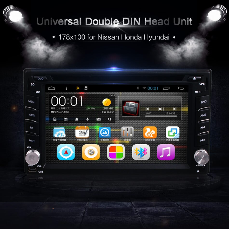 6,2 pulgadas 2DIN Android OS coche Dash DVD MP3 MP4 reproductor de Video GPS Navi WIFI Bluetooth unidad estéreos para Hyundai Honda Nissan