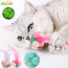 Jouets en forme de chat 3 pièces   Fournitures pour animaux domestiques, jouet boule de chat, son couchette, plume colorée, jouets de chat amusants, jouets bon marché 30