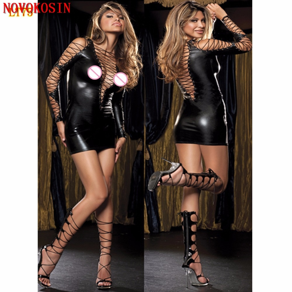 LT75 2018 Women Bodydoll Hot Long Sleeves Sexy Lingerie Faux Leather Costumes Sex Erotic Sexy Rope B