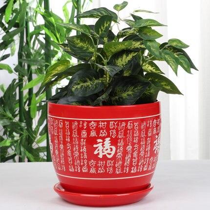 Estilo chinês Big Red Bonsan Vaso de Flores Vaso de Flores de Cerâmica Festivo Vermelho Puro Personalidade Criativa Bacia