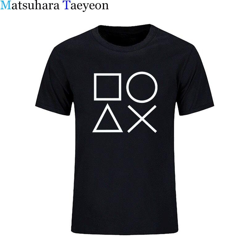 Camiseta de manga corta para hombre de Matsuhara Taeyeon con estampado de cuello redondo y controlador de Playstation